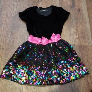 4/$25 George black velvet top w sequins dress